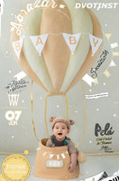 Dvotinst Baby Photography Props Fire Balloon Theme Background Clothes Set Fotografia Accessories Studio Shooting Photo Props