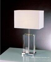 YOOK 35*48 см роскошные белые площади абажур настольной лампы кристалл простой основание настольной лампы Гостиная Спальня настольная лампа 220