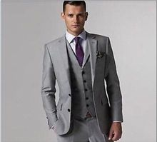Hot Light Grey Two Button Notch Lapel Groom Tuxedos Bridegroom Best Man Suits