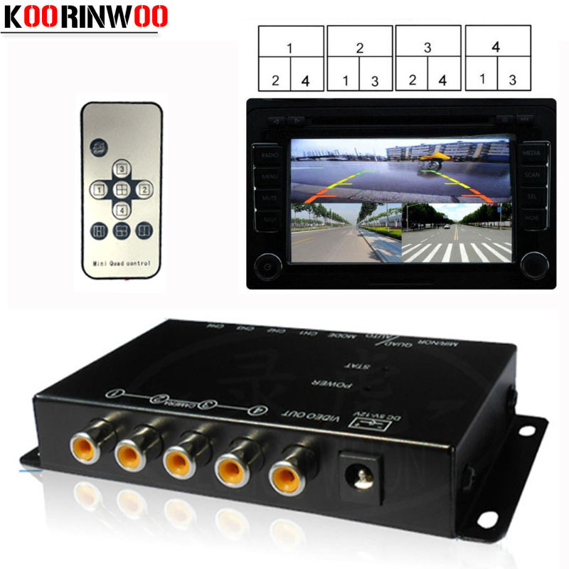 Koorinwoo Switch Box <font><b>4</b></font> Channels Available <font><b>Control</b></font> for Car Rear view <font><b>Camera</b></font> <font><b>Video</b></font> Front Side Rear Cameras Parking Assistance image