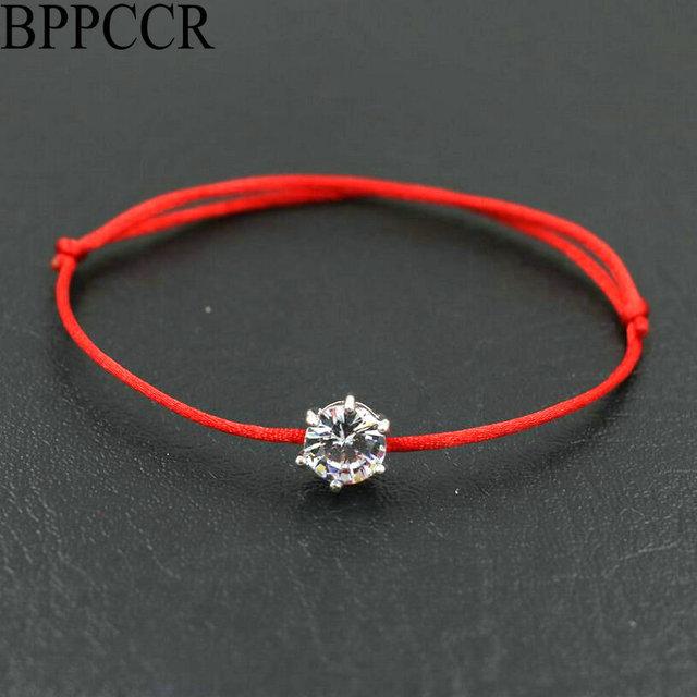 18154b6f € 0.98 33% de DESCUENTO|BPPCCR plata Color redondo diamantes de imitación  cristales AAA circonita fina cuerda roja cadena trenzada pulseras mujer ...