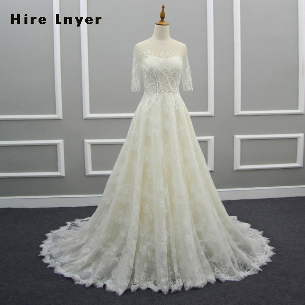 Wedding Gowns Online Shopping: HIRE LNYER Custom Made Button Up Half Sleeve Lace Wedding