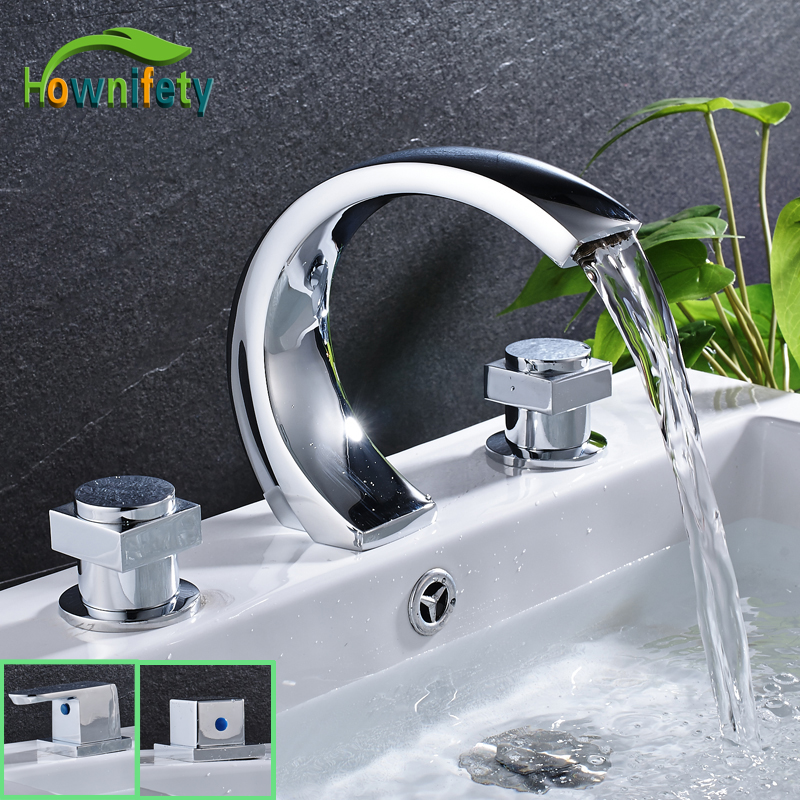 High Quality Chrome Polished Widespread 3pcs Bathroom Basin Faucet Double Handles Solid Brass Mixer Tap стоимость
