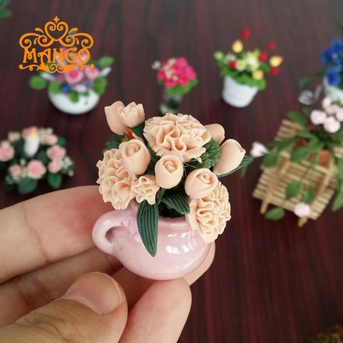 SCALA 12th Dolls House miniatura Deep Pink Fioritura Pianta in vaso Cesto