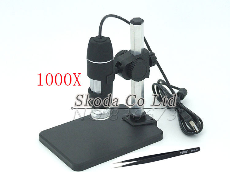 Free shipping 1000X 2MP USB digital Microscope with holder stand 8LED Digital Microscope Magnifier+1pcsVETUS tweezers 2mp 1000x 8led usb portable digital microscope video camera magnifier stand