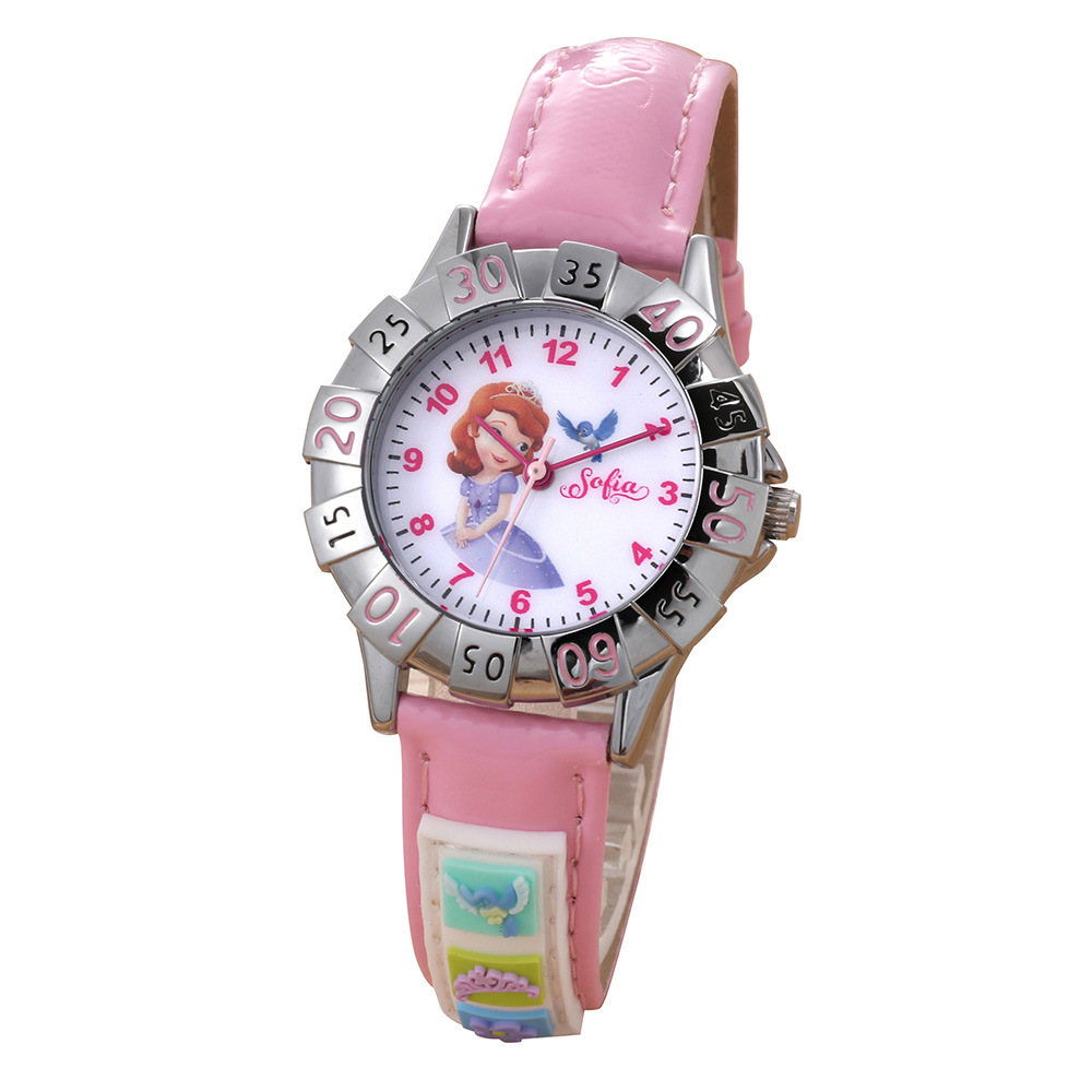 Disney Brand Wristwatches Frozen Sofia Fashion Children Girls Watches Leather Quartz Child Girl Students Cotton Waterproof Watches
