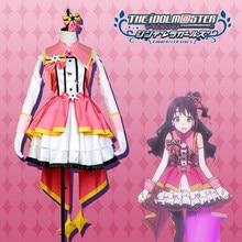 Anime THE IDOLM@STER Cinderella Girls Shimamura Uzuki Cos dress+skirt+small shawl+bowknot+gloves Cosplay Costume+Free Shipping G