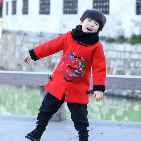 Tang suit boy's clothes the baby clothes the Chinese style of the Chinese wind and winter coat цена 2017