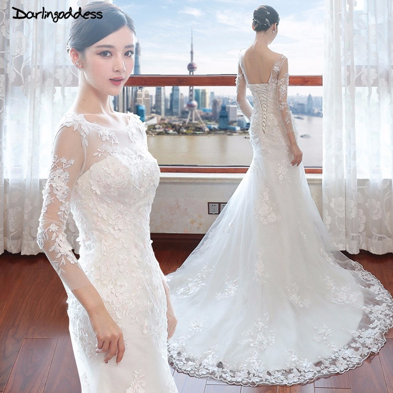 Darlingoddess Backless Lace Mermaid Wedding Dresses Luxury