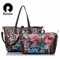 Realer marca 2016 nueva mujeres flor impreso bolsas de hombro ahuecan hacia fuera compuesto 2 sets bolso de las mujeres