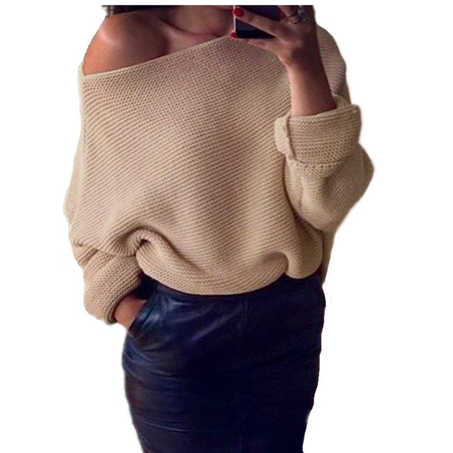 2017 Women Loose Sweater Sexy Hot Spring Autumn Fashion Pullovers Knitwear For Female Casual Female Long Sleeve Sweaters Women