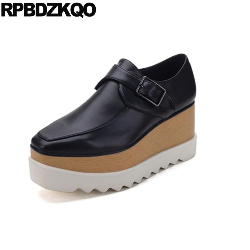 Square Toe Black Luxury Large Size Slip On Elevator Creepers Platform Shoes Women Flats 2017 41 Ladies Genuine Leather Beautiful