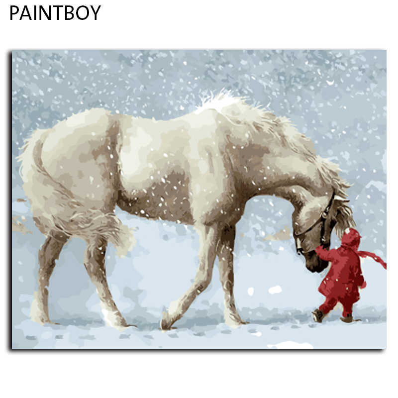 Framed Pictures Painting By Numbers DIY Digital Canvas Oil Painting Home Decor Wall Art White Horse In Winter GX9600 40*50cm