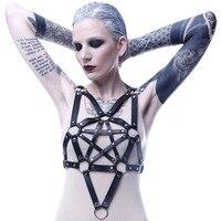 Goth PU Leather Bra Garter Belts Sexy Pentagram Style Chest Bra Cage Body Harness Strap Women Lingerie Bondage Suspender Belts