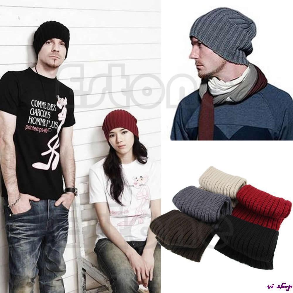 Hot Men Stylish Hip-Hop Warm Winter Wool Knit Ski Unisex Beanie Skull Cap Hat hot winter beanie knit crochet ski hat plicate baggy oversized slouch unisex cap