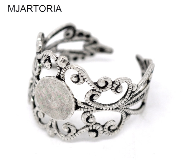 20PCs Silver Tone Adjustable Filigree Ring Settings US 8 DIY Jewelry Accessories
