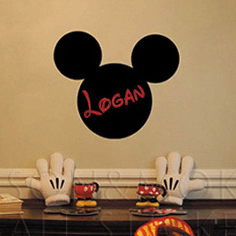 Brilliant Us 11 68 Mickey Mouse Ears Custom Kids Personalized Name Vinyl Wall Art Chalkboard Lettering Words Quotes Decal Wallpaper Bedroom 40 50Cm In Wall Download Free Architecture Designs Grimeyleaguecom