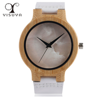 Handmade Fashion New Nature Wrist Watch Sport Unique White Genuine Leather Nature Wood Simple Dial Bamboo