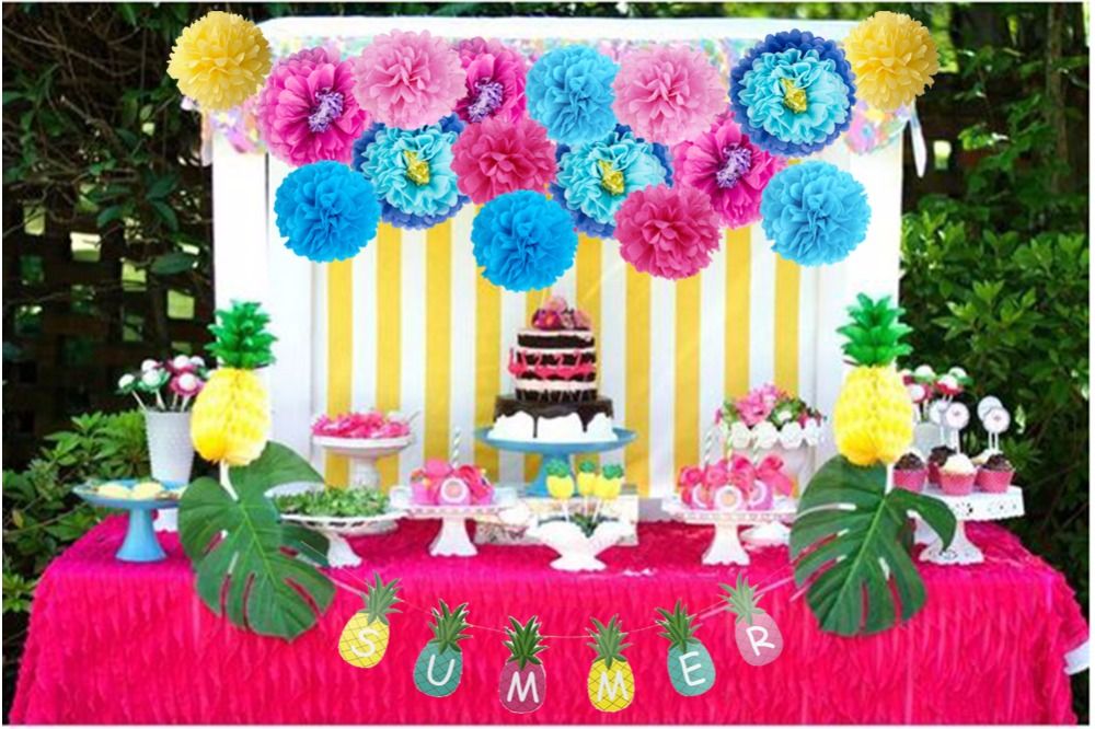 Hawaiian Party Decorations Colorful Paper PomPoms Flower balls - Feestversiering en feestartikelen
