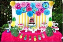 Hawaiian Party Decorations Colorful Paper PomPoms Flower balls Pineapple for Wedding Birthday Decor 13Pieces