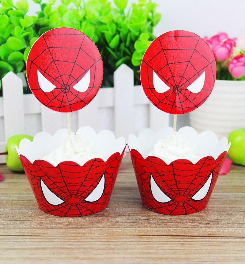 24 Unidsset Spider Man Pastel Topper Cupcakes Envoltorios Aniversario Baby Shower Cumpleaños Fiesta Decoración Niña Niño