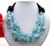 Natural 5Strands Bule Stone&Onyx Pink Crystal Stone &Onyx Blue Chalcedony&Onyx Necklace