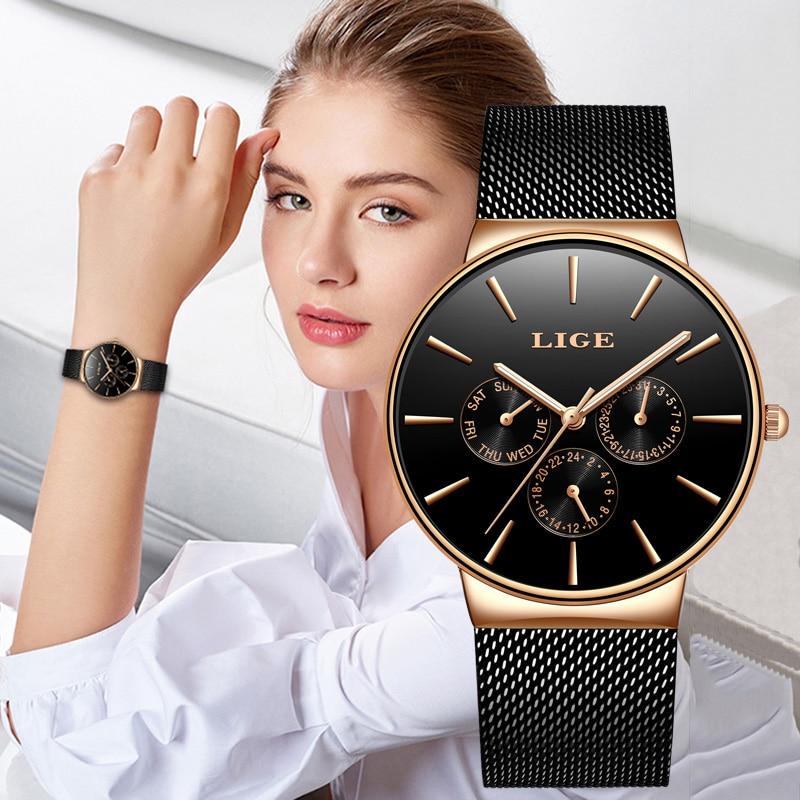 LIGE ladies watch casual fashion mesh waterproof clock quartz women luxury brand elogio Masculino + Box