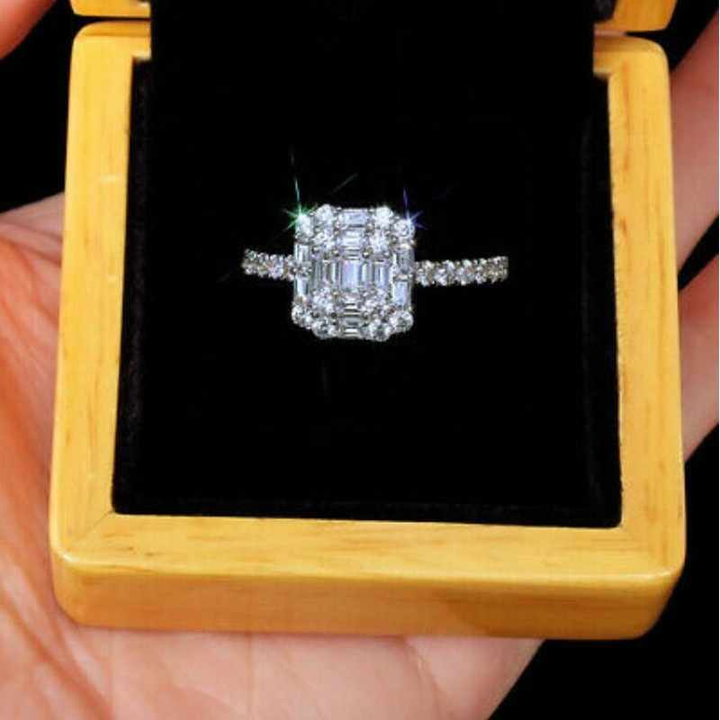 Victoria Wieck ขายร้อนเครื่องประดับยี่ห้อใหม่ 925 เงินสเตอร์ลิง T เจ้าหญิงตัดสีขาวใส 5A Cubic Zirconia แหวน