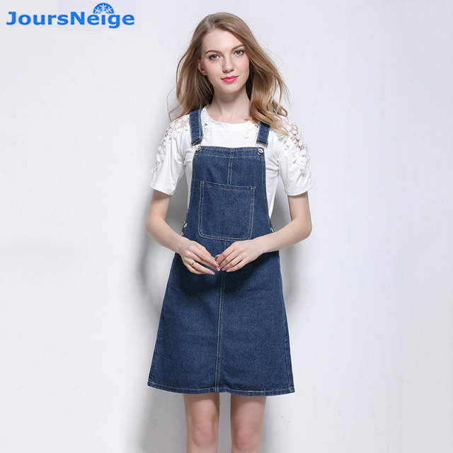 c0a4dd5667a Suspender Denim Skirt Women 2018 New Takedown Braces Jeans Skirts Blue Jeans  Front Big Pocket Ladies