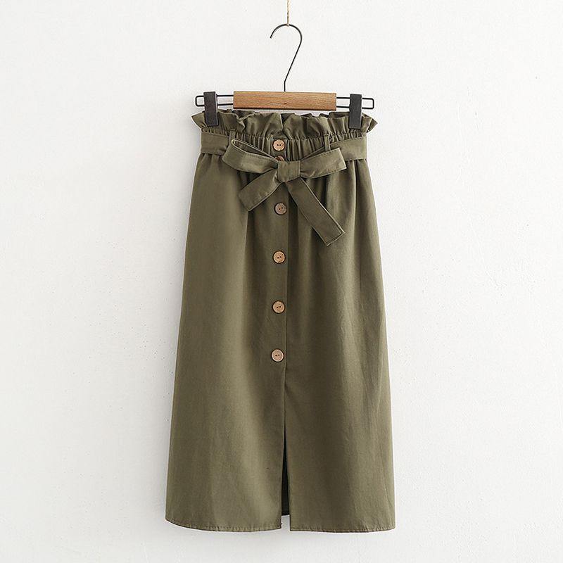 Women's Skirts Spring Korean Style Midi Knee Length Elegant Button High Waist Skirt Female Pleated School Long Skirt