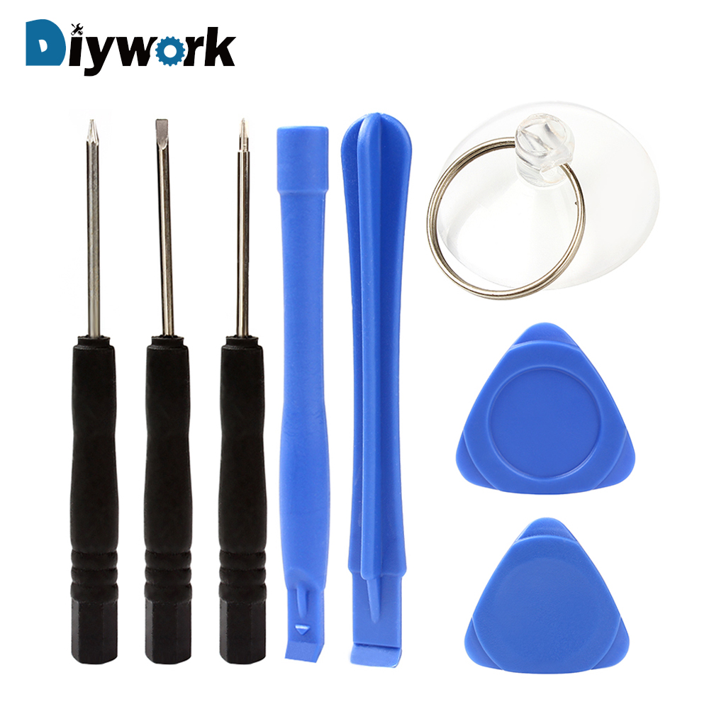 DIYWORK 8 In 1 Mobile Phone Repair Tools Set Crowbars Suction Cup Screwdriver Opening Pry Set Universal Screws