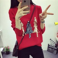 Women Christmas Sweater Pullover Winter 2018 New Hot Fashion O neck Sequined Christmas Tree Long Sleeve Knit Pullovers Sweaters