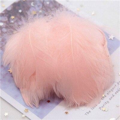 Натуральные гусиные перья 4-8 см, маленькие плавающие цветные перья лебедя, Плюм для рукоделия, свадебные украшения, украшения для дома, 100 шт - Цвет: Champagne 100pcs