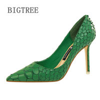 BIGTREE Green High Heel Shoes 2018New Snake Printing Women Shoes Pointed Toe Shallow 9 5cm Pumps