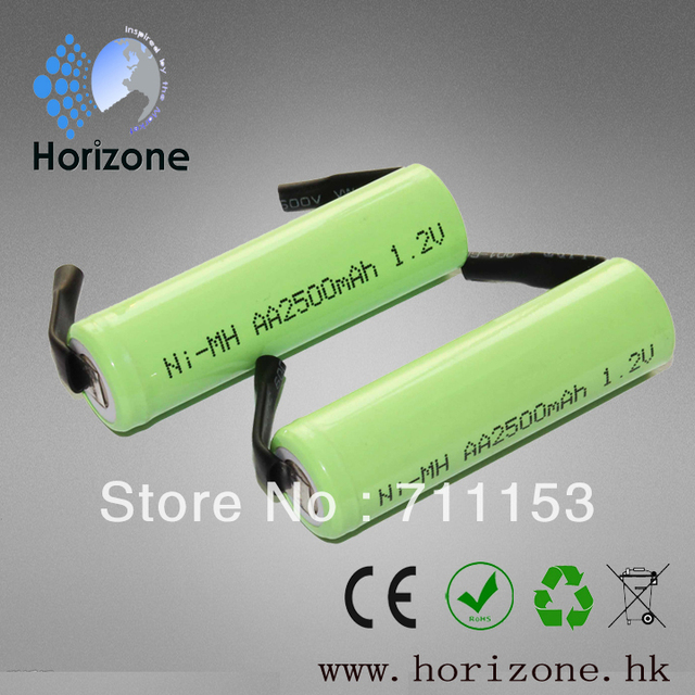 10 Piece 1.2v AA 2500mAh Ni-MH Rechargeable Battery With Tabs