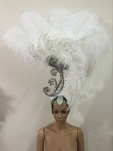Image 4 - Feather clothing Stage performance catwalk carnival Headdress flower pubs party Mens wear womens clothing