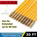 10Pcs 30FT Fiberglas Laufende Kabel Draht Kit Koaxial Elektrische Kabel Installation Stangen Werkzeug Fisch Ziehen Draht Halter Kit