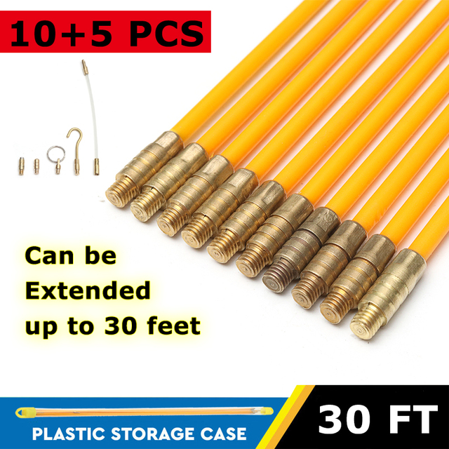 10pcs 30ft fiberglass running cable wire kit coaxial electrical cable  installing rods tool fish pulling wire holder kit