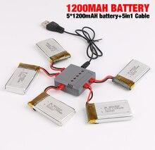 Nueva syma x5hc x5hw drone rc batería 3.7 v 1200 mah lipo batería de piezas de repuesto rc quadcopter con 5 in1 cable