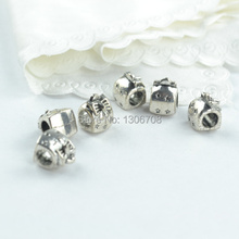 50pcs Metal tibetan silver charms big hole gift box styles beads fit for europe bracelet jewelry making z42673