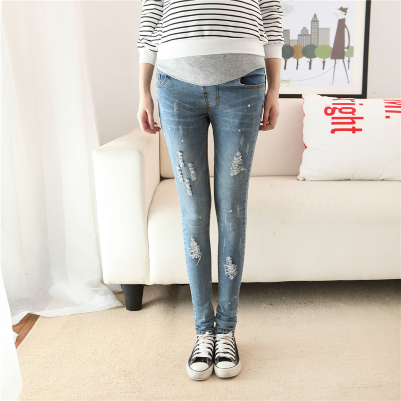 Autumn Maternity Jeans Korean Fashion Pencil Hole Slim Pants For Pregnancy Clothes for Pregnant Women Skinny Belly Trouser Denim 3 pieces set maternity postnatal belt after pregnancy bandage belly band waist corset pregnant women slim shapers underwear hot
