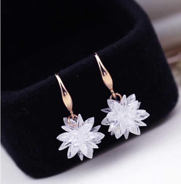 Mawar Putih/Emas Putih Warna 100% Austria Desain Bunga Kristal Drop Anting-Anting untuk Wanita Busana Pesta Perhiasan Boucle D'oreille Femme