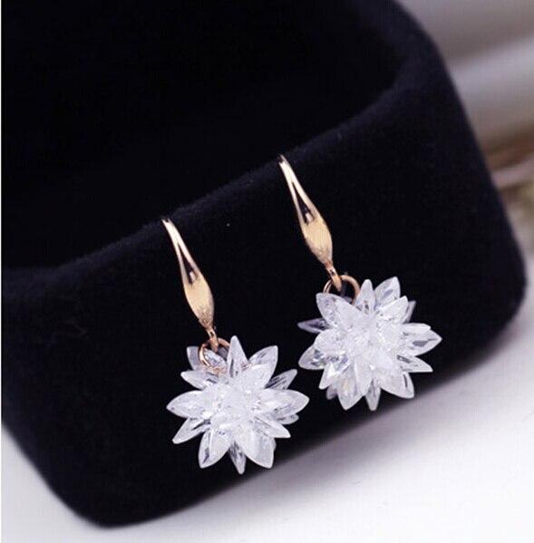 Rose/White Gold Color 100% Austria Crystal Flower Design Dros