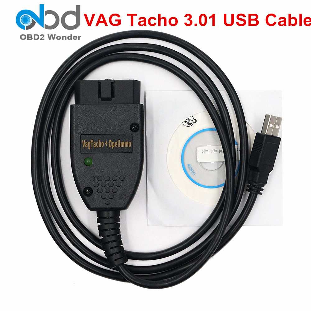 2019 New <font><b>Vag</b></font> Tacho 3.01 USB Diagnostic Cables <font><b>VAG</b></font> <font><b>OBD2</b></font> Scan Tool For Opel IMMO Airbag Reset Scanner VAGTACHO 3.01 OBDII Adapter image