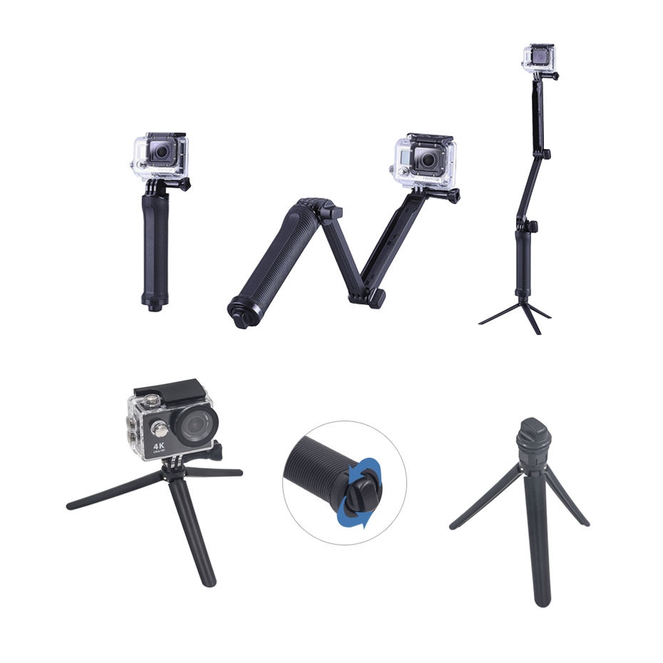 3 Way Collapsible Mount For GoPro Camera Monopod Tripod Stand for Gopro Hero 4 2 3 3+ 2 1 SJ4000 Xiaomi Yi 4K Camera Tripod
