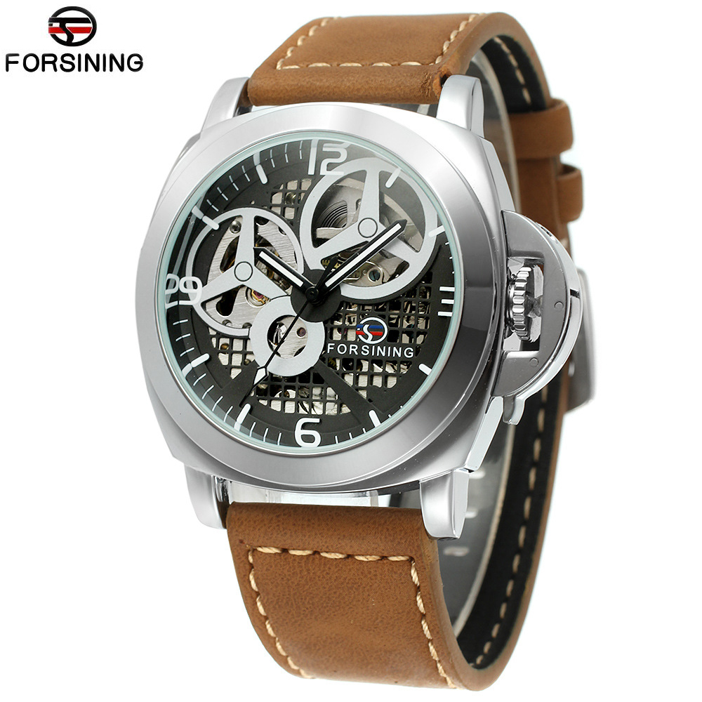 2017 Skeleton FORSINING Automatic Watch Leather Mens Watches Top Brand Luxury Mechanical Watch Men Wristwatch Relogio Masculino horloges mannen qlls mens watches top brand luxury automatic mechanical watch men clock skeleton wristwatch relogio masculino