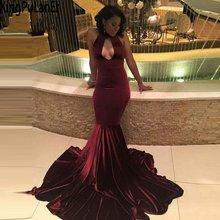 Женское бархатное платье русалка бордовое длинное вечернее с