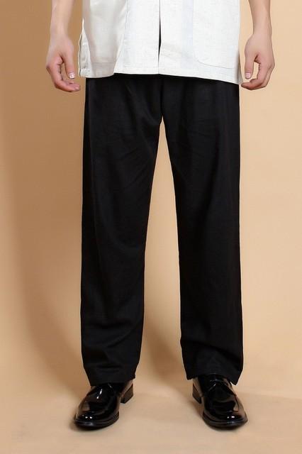 Novo Estilo Chinês Preto Dos Homens Calças de Algodão De Linho Kung Fu Wu Shu calças Masculino Tai Chi Pant Tamanho S M L XL XXL XXXL MT001