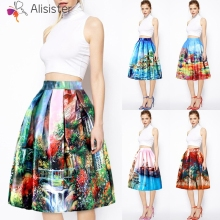 6208c3a29255 Digital Painting Casual Midi Skirt Women Floral Print 3d Knee Length  Pleated Tutu Skirt 2019 Summer