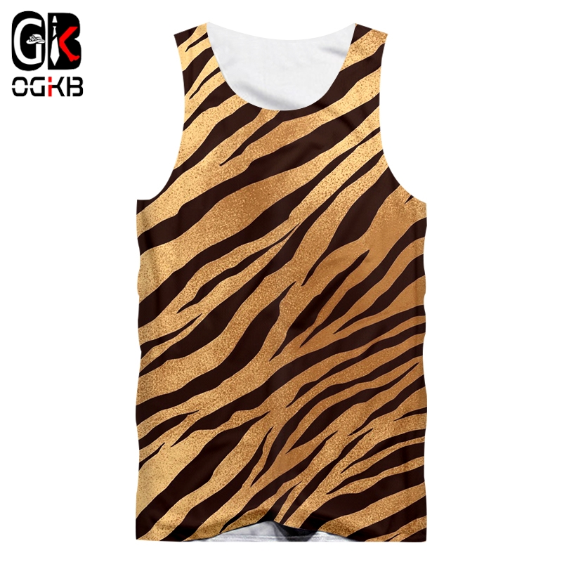 OGKB Line   Tank     Tops   Man New Sleeveless Shirt Black White Leopard Print 3D Printed Large Size Habiliment For Men Summer